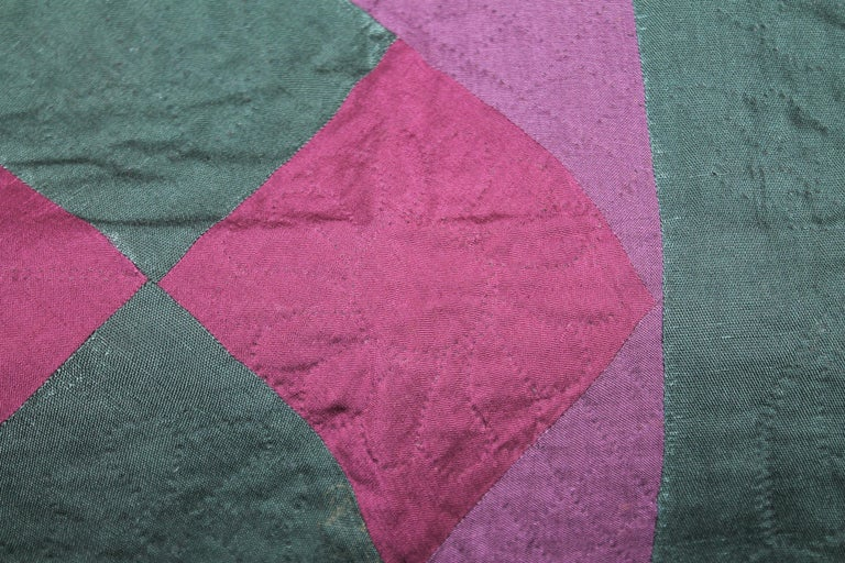 Early 20th Century Antique Quilt Wool Lancaster Co., Pa Amish Diamond in a Square