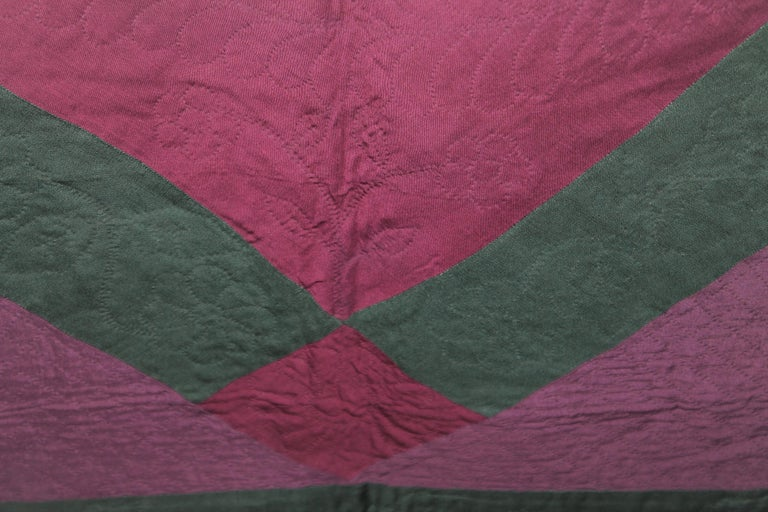Antique Quilt Wool Lancaster Co., Pa Amish Diamond in a Square 1