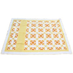 Antique Quilt Yellow and White Geometric Pattern