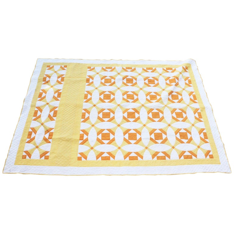 Antique Quilt Yellow and White Geometric Pattern For Sale