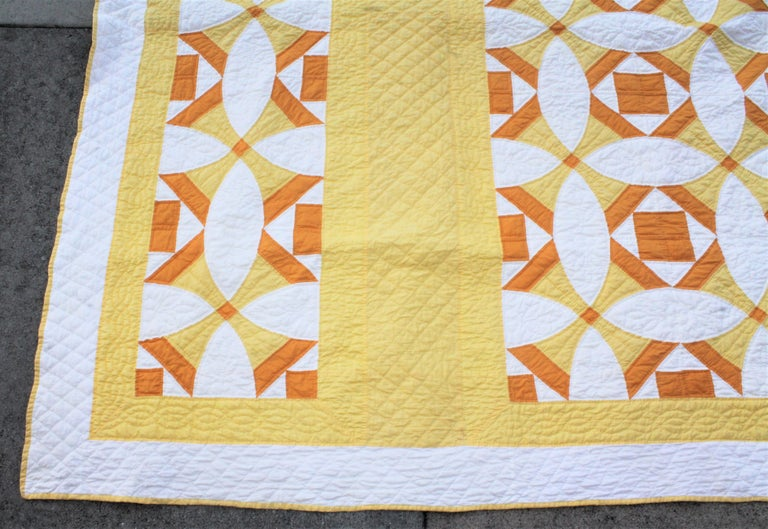 American Antique Quilt Yellow and White Geometric Pattern For Sale
