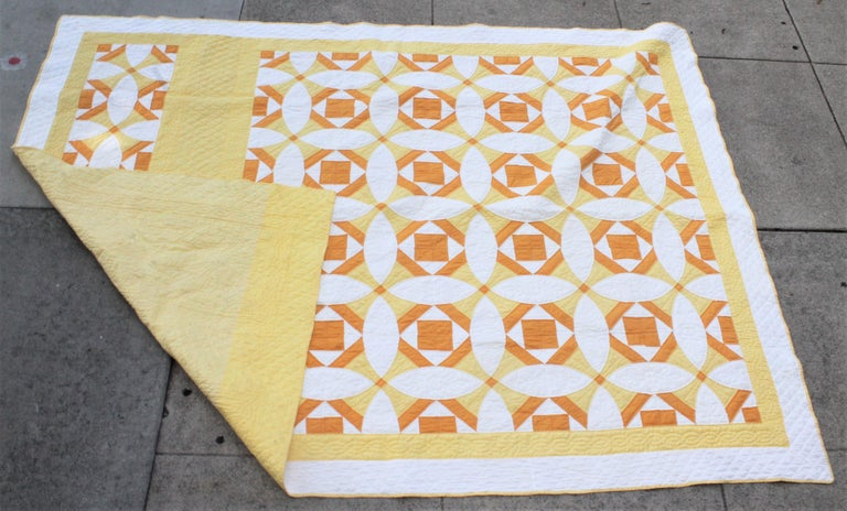 Hand-Crafted Antique Quilt Yellow and White Geometric Pattern For Sale