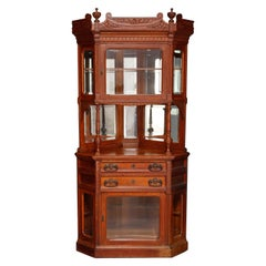 Antique R. J. Horner Carved Oak Faceted Corner Cabinet, circa 1890