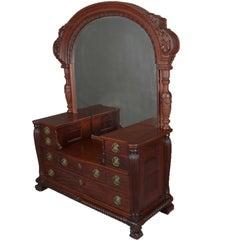 Antique R. J. Horner School Carved Mahogany Drop Center Mirrored Dresser
