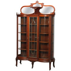 Antique R J Horner School Oak & Leaded Glass China Cabinet, C1900