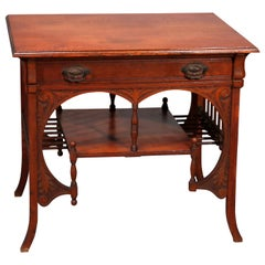 Antique R J Horner School Oak Stick and Ball Library Table, circa 1890