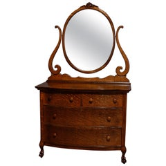 Antique R. J. Horner Style Bow Front Oak Chest of Drawers with Mirror circa 1920
