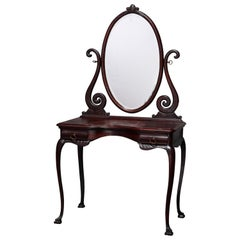 Antique R. J. Horner Style Carved Oak Dressing Table with Beveled Mirror