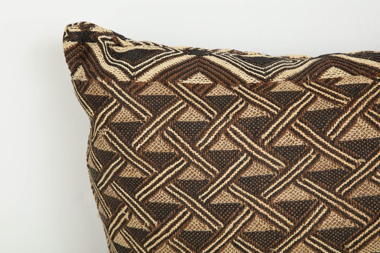 African Antique Raffia Kuba Cloth Pillow For Sale