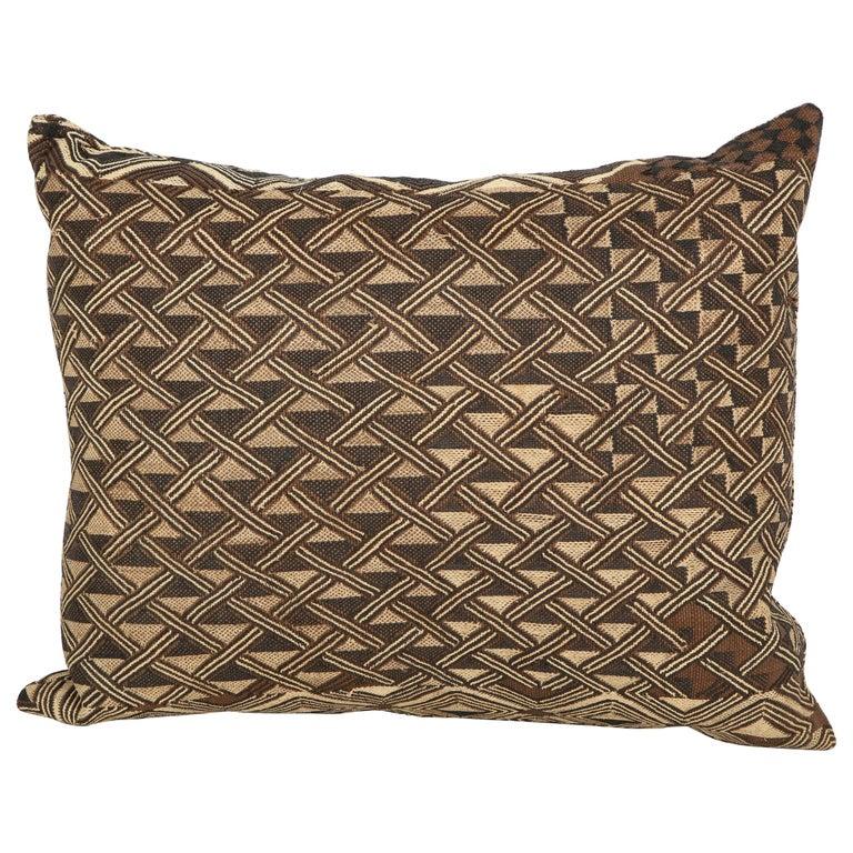 Antique Raffia Kuba Cloth Pillow For Sale