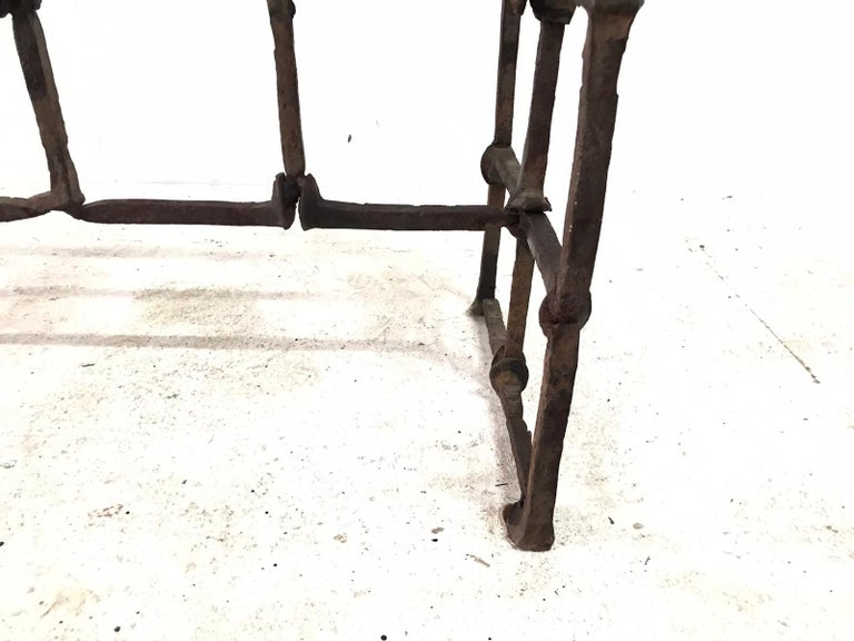 Antique Rail Road Spike Console with Glass Top For Sale 4