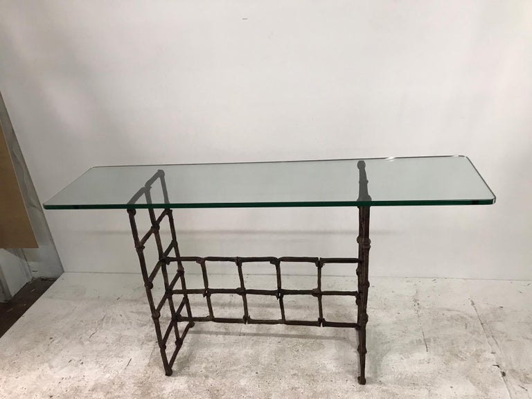 Antique Rail Road Spike Console with Glass Top In Good Condition For Sale In East Hampton, NY