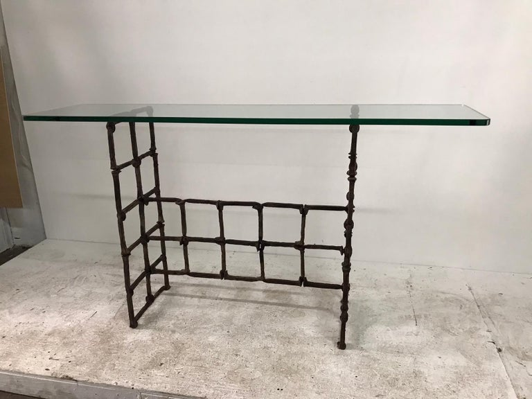 20th Century Antique Rail Road Spike Console with Glass Top For Sale