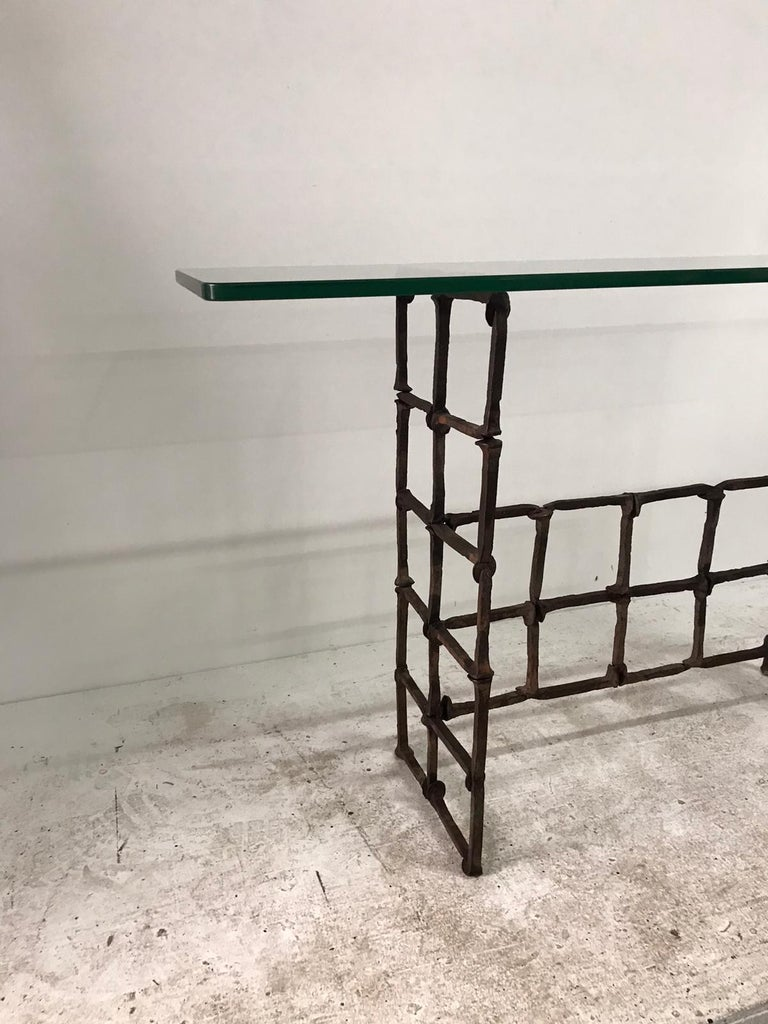 Antique Rail Road Spike Console with Glass Top For Sale 2