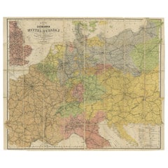 Antique Railway Folding Map of Central Europe by Müller, 1870