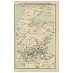 Antique Railway Map of Scotland, 1907
