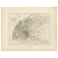 Antique Rain Map of Europe by Johnston '1850'