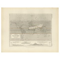 Antique Rain Map of the World by Johnston '1850'
