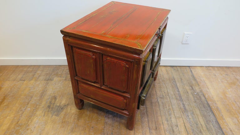 Chinese Antique Raised Panel Chest with Drawers For Sale