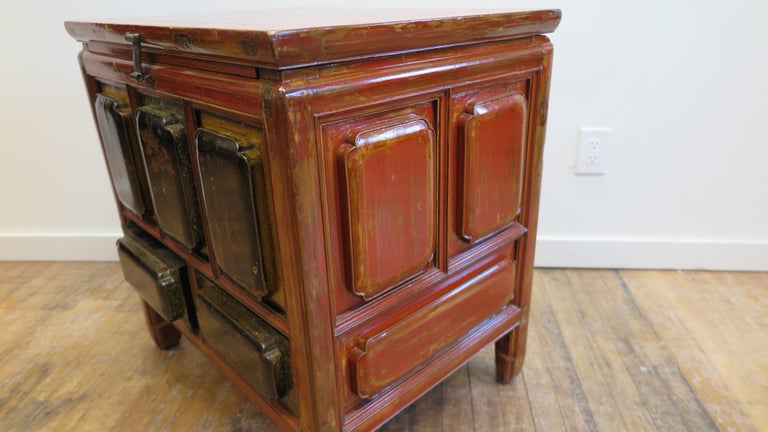 Lacquered Antique Raised Panel Chest with Drawers For Sale