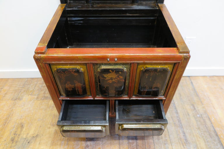 Wood Antique Raised Panel Chest with Drawers For Sale