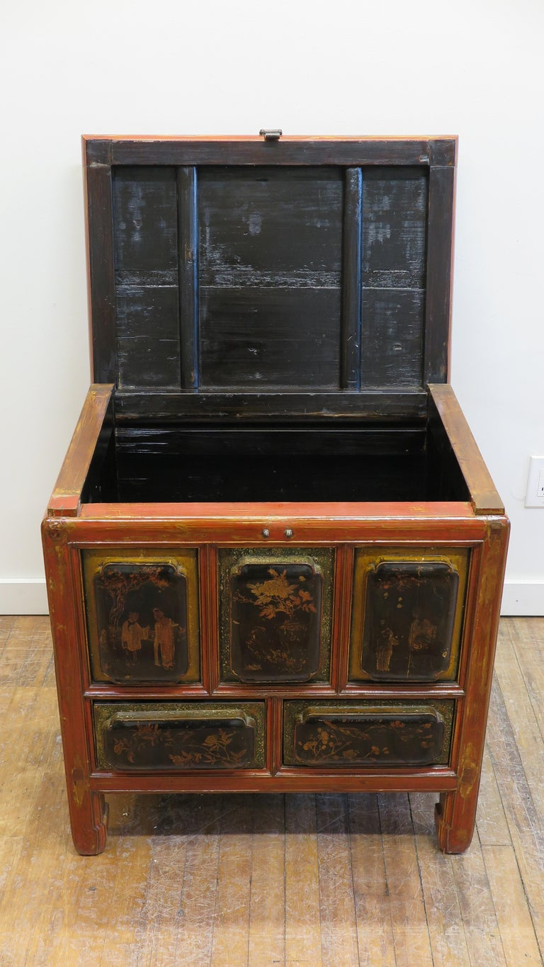 Antique Raised Panel Chest with Drawers For Sale 1