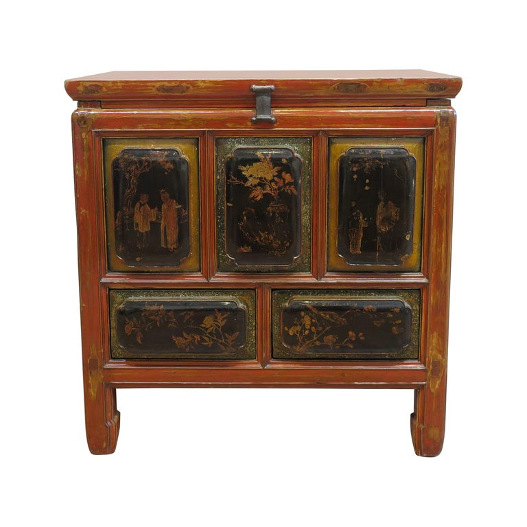Antique Raised Panel Chest with Drawers For Sale