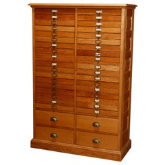 Antique Raised Panel Oak 40-Drawer File Cabinet, 20th Century