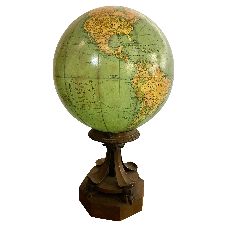 Antique Rand McNally Terrestrial Globe, Glass, Light Up, Unusual Bronze Base