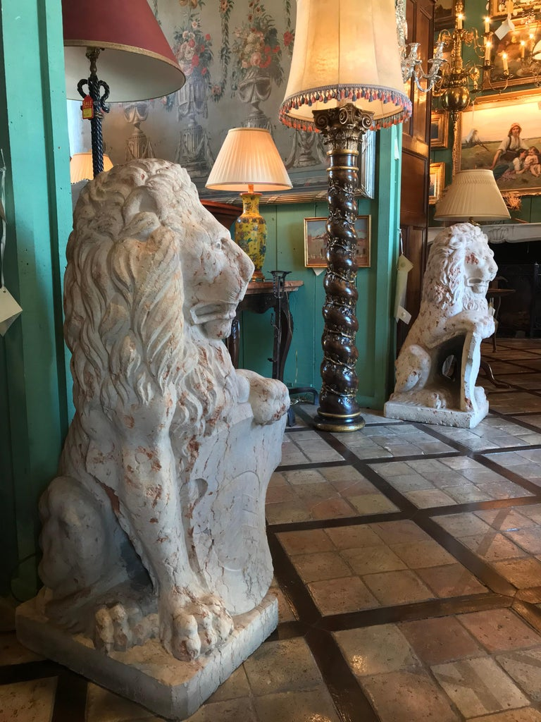 Antique Rare 18th Century Carved Marble Terracotta Figures of Regal Lions For Sale 4