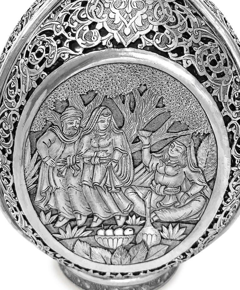 Anglo-Indian Vintage 3D Wine Jar, Handmade Silver For Sale