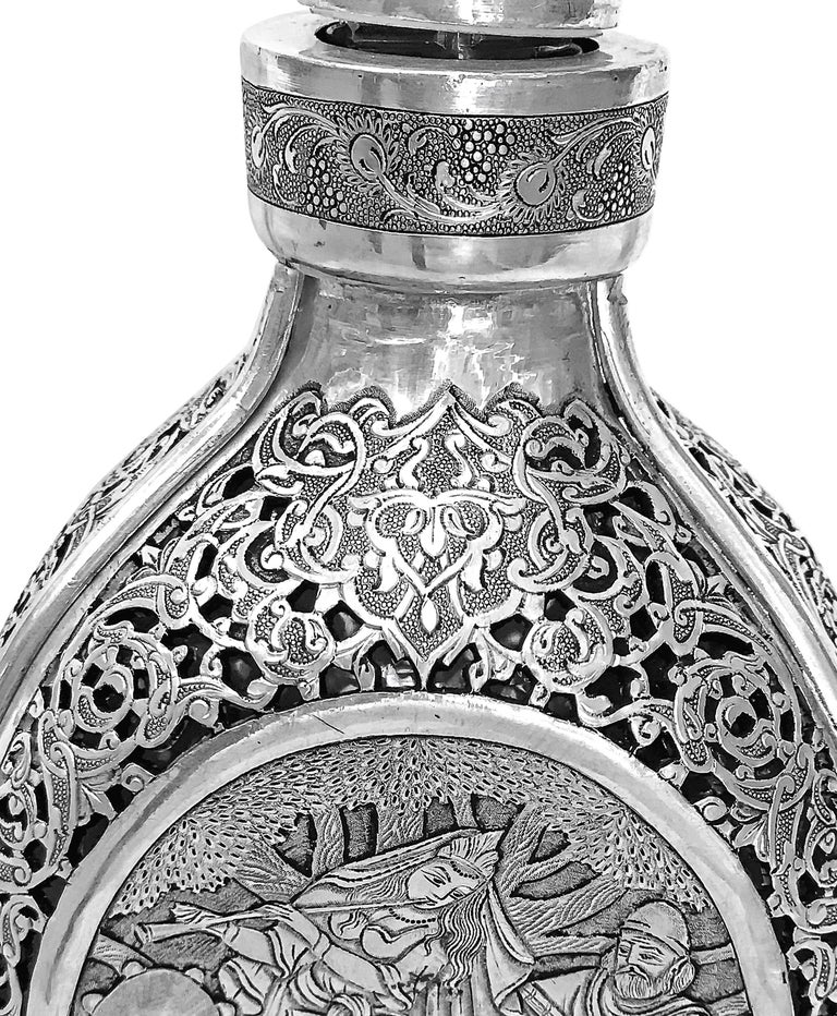 Vintage 3D Wine Jar, Handmade Silver In Good Condition For Sale In Jackson Heights, NY