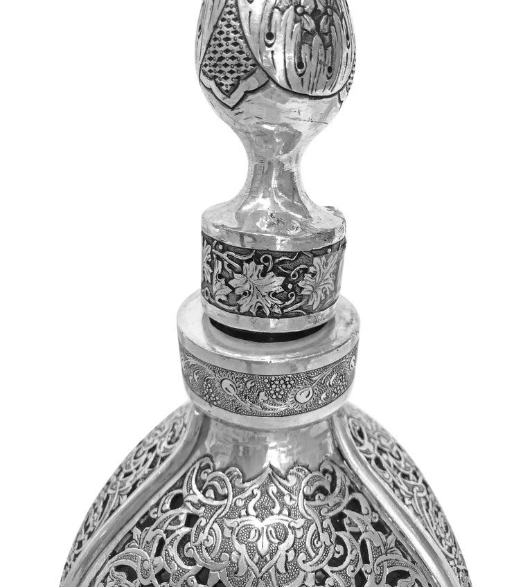 Women's or Men's Vintage 3D Wine Jar, Handmade Silver For Sale