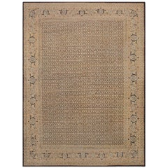 Antique Rare Brown Background Persian Tabriz Rug