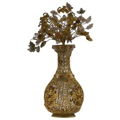 Antique Rare Chinese Silver Gilt Filigree and Gem Set Vase, circa 1760