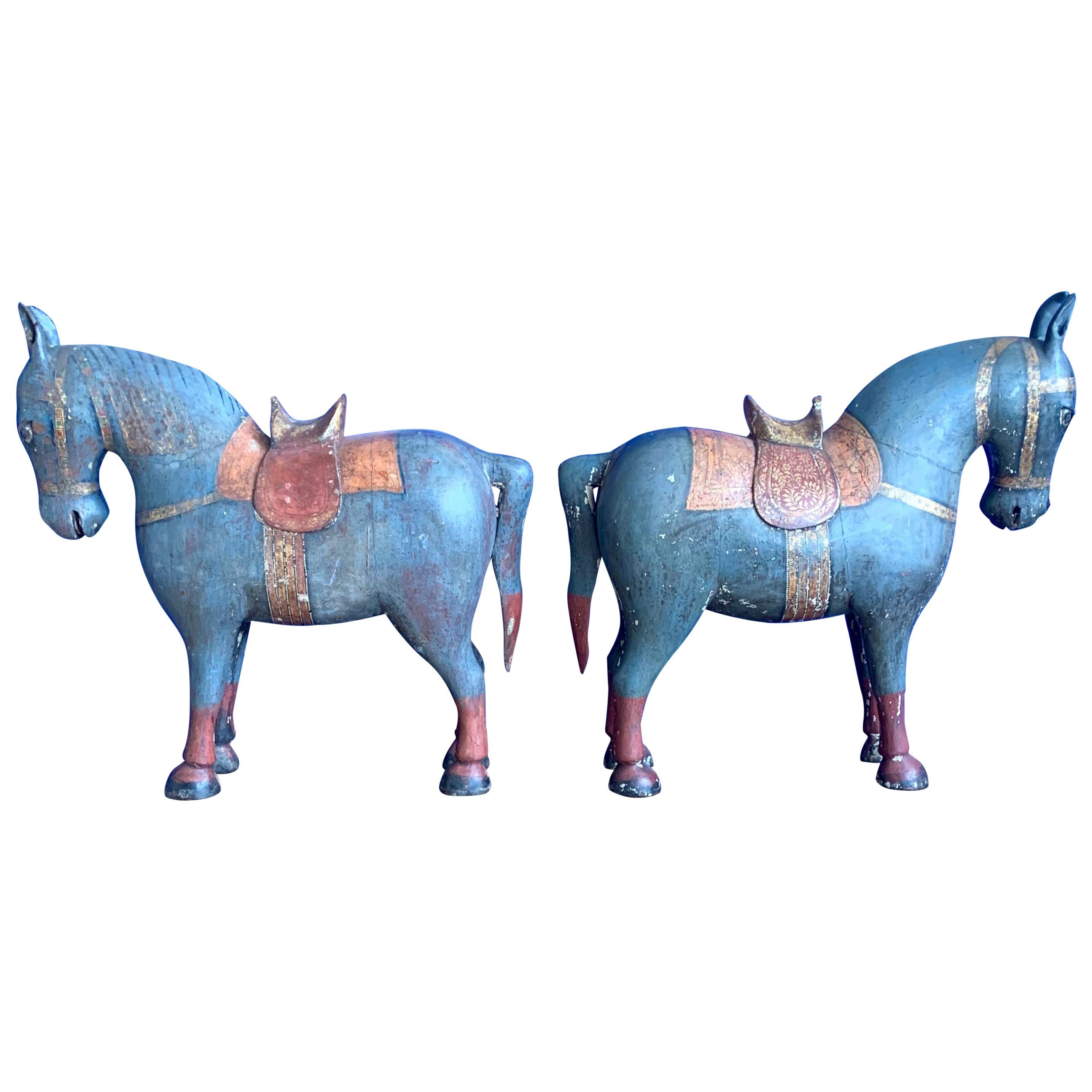 Antique, Rare & Decorative Pair of Hand Carved and Hand Painted Horse Sculptures