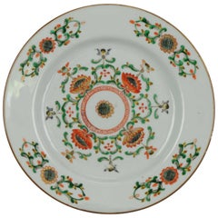 Antique Rare Famille Verte 18th Century Chinese Porcelain Flowers