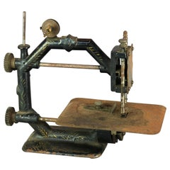 Antique Rare Form Early Ebonized & Gilt Table Top Sewing Machine, Circa 1850