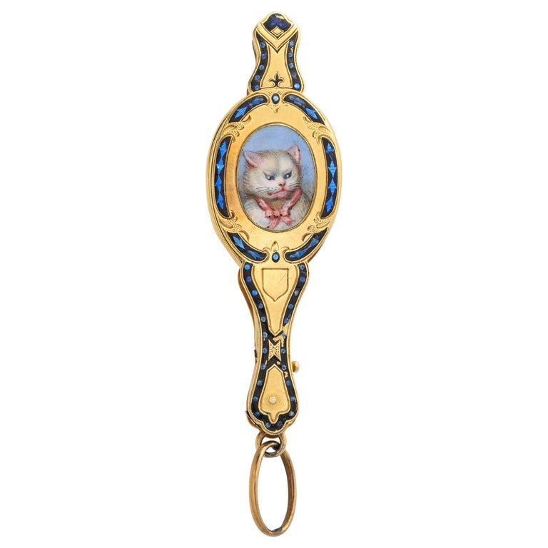 Antique Rare French 18 Karat Victorian Enamel Cat Lorgnette For Sale