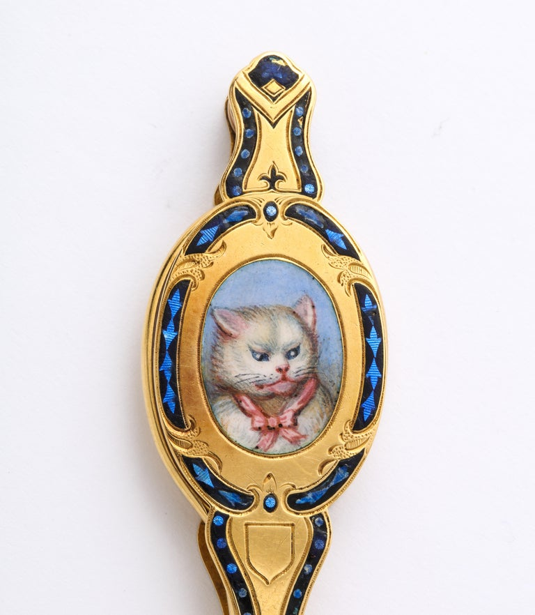 Women's Antique Rare French 18 Karat Victorian Enamel Cat Lorgnette For Sale