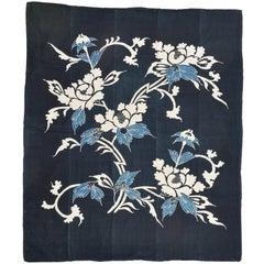 Rare Perfect Japanese Indigo Antique Boro Futon Cover or Wall Panel