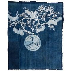 Antique Rare Japanese Indigo Boro Futon Cover or Wall Decoration
