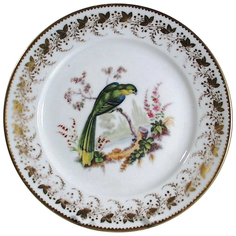 Antique & Rare London-Decorated Paris Porcelain Plate Probably by Thomas Randall For Sale