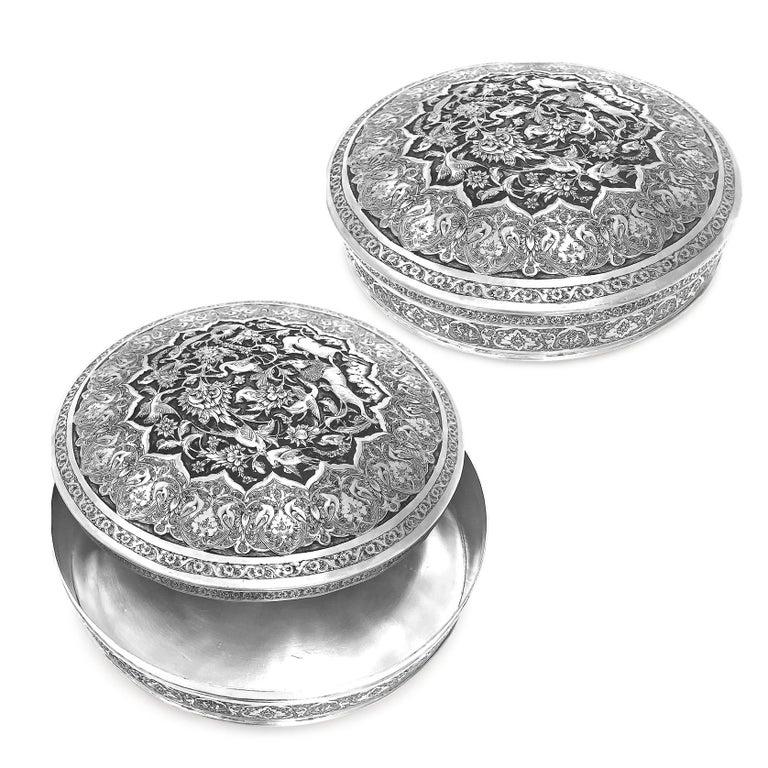 Art Deco Antique Rare Piece Round Box, Handmade Persian Silver For Sale