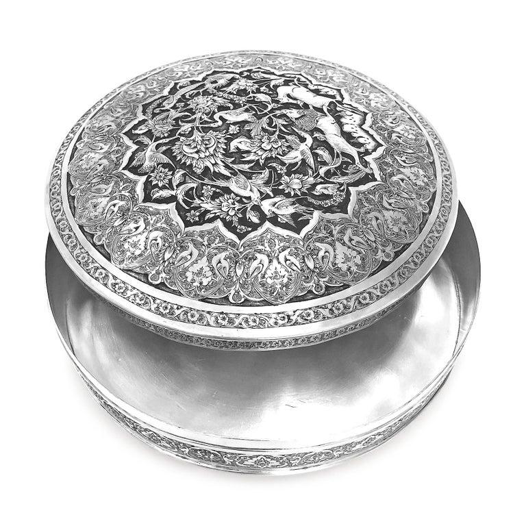 Women's or Men's Antique Rare Piece Round Box, Handmade Persian Silver For Sale