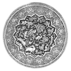 Antique Rare Piece Round Box, Handmade Persian Silver