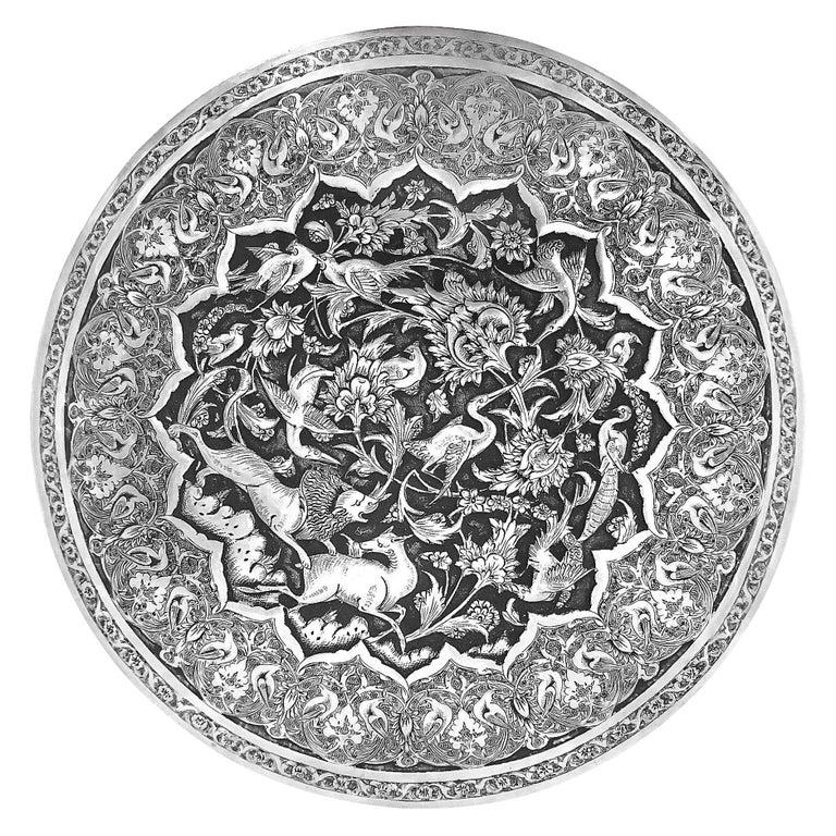 Antique Rare Piece Round Box, Handmade Persian Silver For Sale