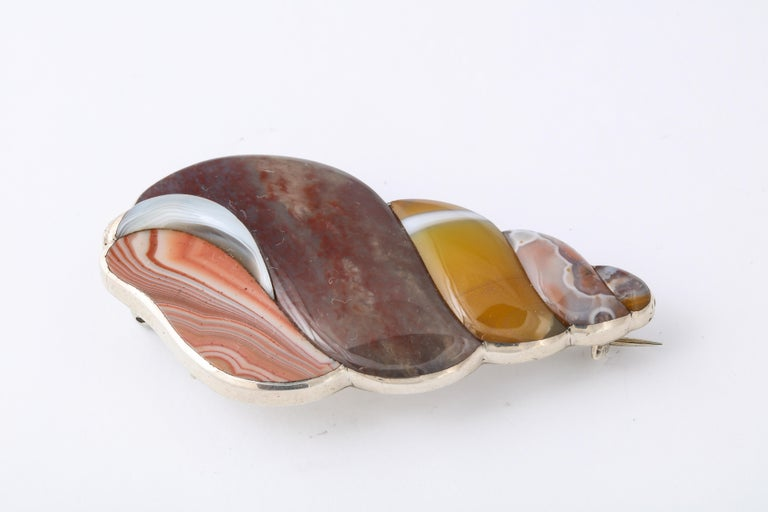 It is hard for a layman to imagine cutting and smoothing natural agate into swirling, shining shapes of beautiful color and patterns as you see in this Agate Sterling Tulip Shell brooch from Scotland. To accomplish this art takes a master jeweler