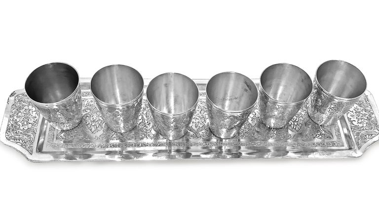 Artisan Antique Rare Wine Set with 6 Cups and 1 Tray in Silver For Sale