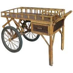 Antique Rattan Bar Cart